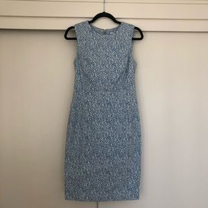 Calvin Klein Blue and White Patterned Dress 8